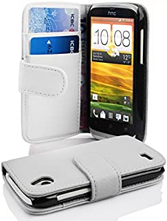 Cadorabo Book-Style Case for HTC Desire X with Card Compartment Made of Textured Faux Leather White