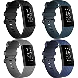 4 Pack Bands for Fitbit Charge 3/ Fitbit Charge 4/ Charge3 SE, Soft Waterproof Replacement Wristbands for Women Men Small Large (Black/Navy/Darkslategray/Gray, S: for 5.5'-7.1' Wrist)