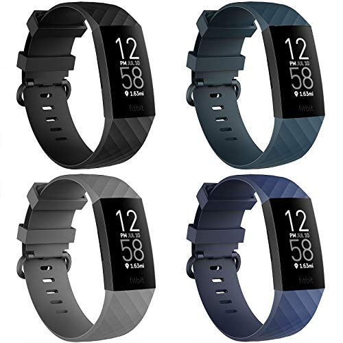 """4 Pack Bands for Fitbit Charge 3/ Fitbit Charge 4/ Charge3 SE, Soft Waterproof Replacement Wristbands for Women Men Small Large (Black/Navy/Darkslategray/Gray, S: for 5.5""""-7.1"""" Wrist)"""