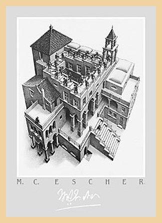 Germanposters M.C. Escher - Póster de escalera con marco de madera de arce natural