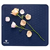 """Dish Drying Mat for Kitchen Counter- Silicone Dish Rack Mat 18""""x 16"""" Non Slip Heat Resistant Trivet, BPA Free and Eco-Friendly, Easy Clean & Dishwasher Safe, Blue"""