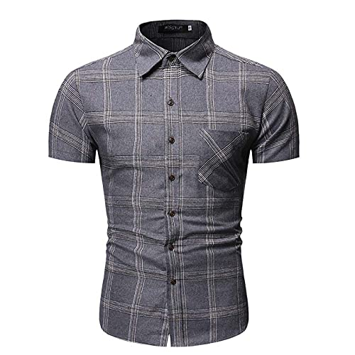SSBZYES Camisa De Hombre Camisa De Verano De Manga Corta Camiseta De Hombre Camisa a Cuadros De Hombre Camisa De Manga Corta con Bolsillo Informal Camisa De Manga Corta De Tamaño Europeo