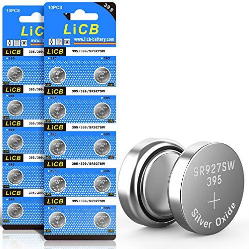 LiCB 20 Stück SR927SW batterien knopfzellen, 395 AG7 Batterien LR927 399 V395 1,5V uhrenbatterie