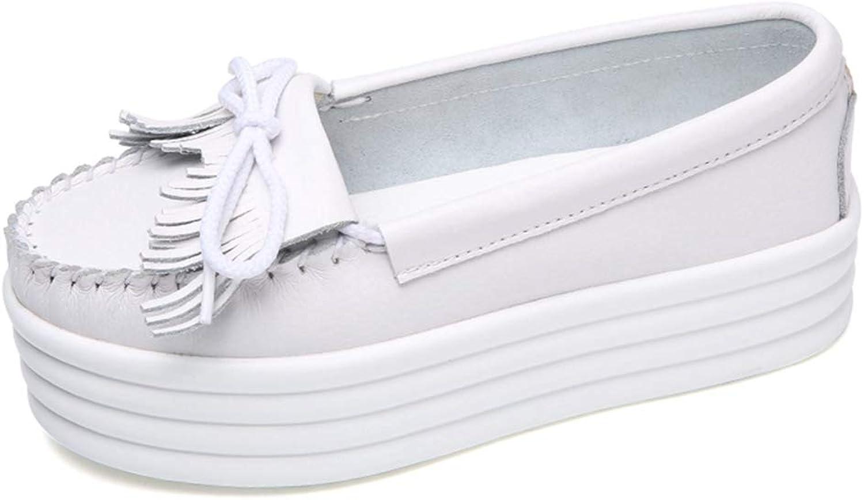August Jim Women Flats shoes,Slip On Elegant Fringe Leather Flat Platform Loafers