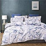 GETIYA 【Último】 Moderna ropa de cama geométrica de microfibra suave, juego de ropa de cama de 3 piezas, juego de ropa de cama moderno para parejas, Color azul mármol., 135x200+40x80cm