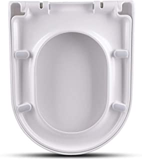 Quality Toilet Seats, White D Shape Soft Close Toilet Seat with Standard and Top Fix/Blind Hole Fittings and Push Button Quick Release Hinges White Easy to Clean