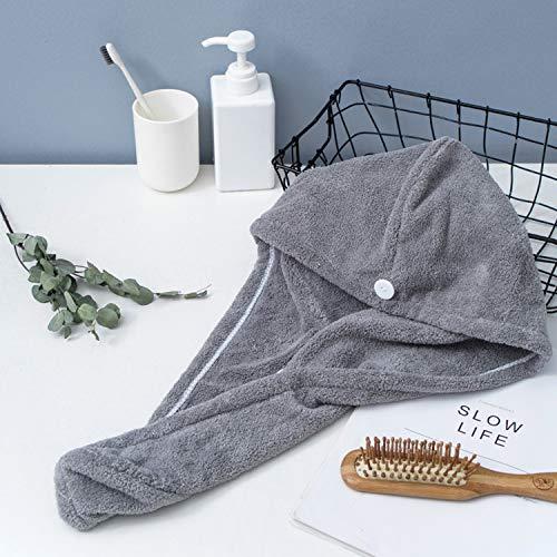 Walmeck Microvezel badhanddoek wikkelen sneldrogende handdoek muts hoed zacht water absorberend haar handdoek wikkelen douchekap met knop voor vrouwen Lady Girl krullend lang nat haar