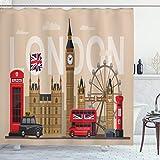 ABAKUHAUS London Duschvorhang, Großbritannien Sehenswürdigkeiten, Wasser Blickdicht inkl.12 Ringe Langhaltig Bakterie & Schimmel Resistent, 175 x 200 cm, Rot Perle