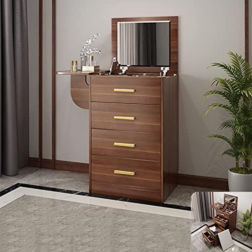 QLIGHA Tocador Mesa cosmética con Espejo abatible, 5 cajones y Compartimentos, Escritorio de Maquillaje Moderno para tocador con Taburete de Maquillaje - Marrón