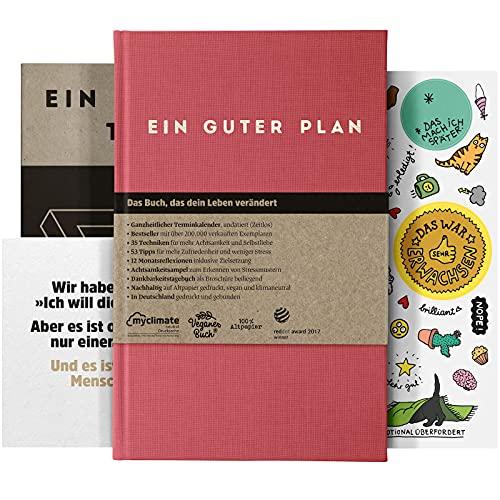 Ein guter Plan Zeitlos | Ganzheitlicher undatierter Terminkalender für mehr Achtsamkeit und Selbstliebe | A5 Planer (Himbeer)