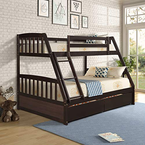 Merax Solid Wood Bunk Bed Daybed No Box Spring Needed Trundle, Twin/Full, Espresso