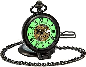 SEWOR Mens Luminous Dial Hand Wind Mechanical Pocket Watch with Brand Leather Gift Box (Stand Up Black) (Black)
