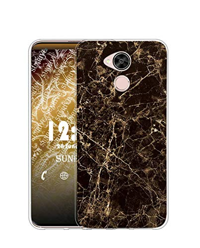 Sunrive Funda para Huawei GX8/G8, Silicona Slim Fit Gel Transparente Carcasa Case Bumper de Impactos y Anti-Arañazos Espalda Cover(TPU Mármol Negro)