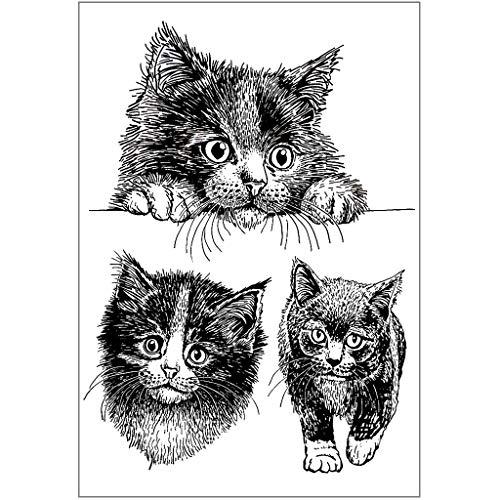 XIANZI Sello de silicona transparente con diseño de gatos realistas, para álbumes de recortes, álbum de fotos, sellos decorativos, regalos de Navidad, Acción de Gracias
