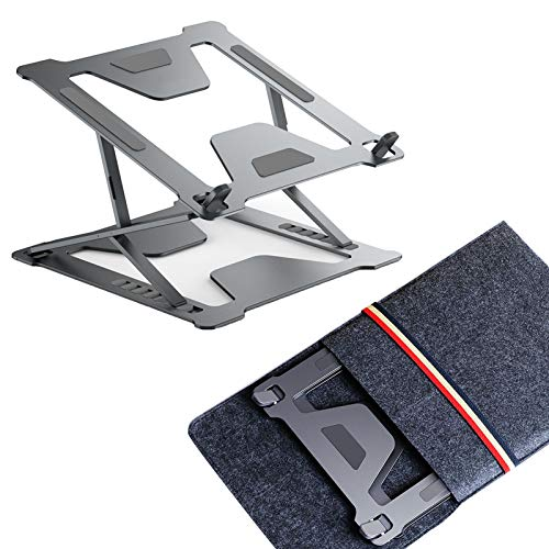 Laptop Riser Aluminum Laptop Tablets Stand Bracket Collapsible Ergonomic Computer Holder with Non-Slip Silicone Compatible with 11'' -17'', Grey