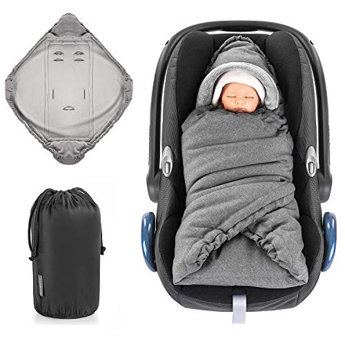 Zamboo Einschlagdecke für Babyschale und Kinderwagen - praktische Alternative zum Baby Winter-Fußsack, weiches und wattiertes Thermo Fleece - Grau (Basic)
