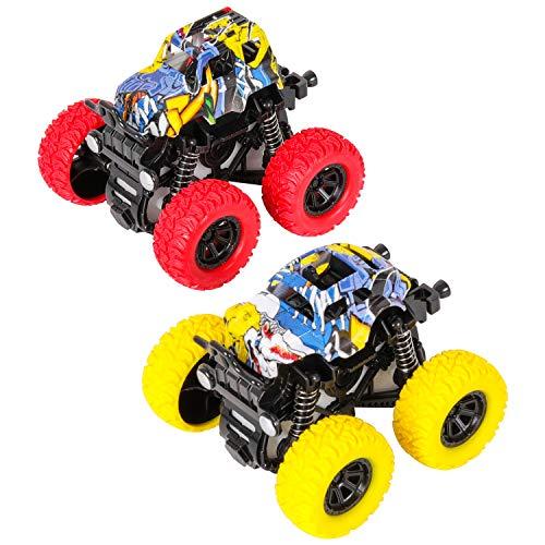 m zimoon Camión Monstruo, Monster Truck Echar para Atrás Coche Vehículos de Juguete Rotación de 360 Grados Coche de Fricción Regalo para Niños de 3 a 8 Años, Niñas (2 Piezas, Amarillo Rojo)