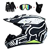 Casco de motocicleta de motocross, máscara de parabrisas, guantes, gafas de protección estándar para niños Quad Bike, ATV Karting Casco Fox (S, M, L, XL), S