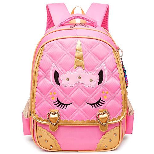 Moonmo Cute Unicorn Face Diamond Bling Waterproof Pink School Backpack Set Girls Book Bag (Large, Pink)