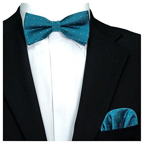 GASSANI 2Tlg Fliegenset, Festliche Petrol-Blaue Herren-Fliege Silber Gepunktet, Hochzeitsfliege Anzug-Schleife Vor-Gebunden Ein-Stecktuch Vorgefaltet