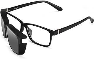 Welluk - Marco para anteojos de sol polarizadas con clip magnético, juego 2 en 1
