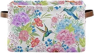 Doshine Panier de rangement pliable avec poignées Motif colibris et fleurs Grand cube de rangement Panier à linge pour org...