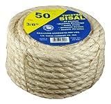 Tw Evans Cordage 23-205 Twisted Multi-Purpose Rope, 1/4 in Dia x 50' L, 900 Lb