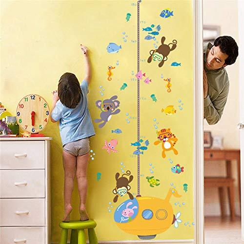 ZWXDMY Sticker Mural Mesure De Hauteur,L'Underwater World Animal Poisson Tigre Singe Mesure Hauteur Mural pour Chambres d'enfants Les Enfants sous-Marin Art Déco Mode Graphique De Croissance
