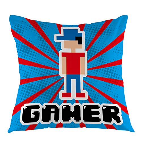 oFloral Gamer Pillowcase,Video Game Design Over Blue and Red Stripes Male Play Gaming Throw Pillow Cover Square Cushion Case for Sofa Couch Car Bedroom Living Room Home Decorative 18' x 18' inch