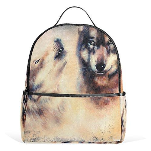 COOSUN Heulen Wolf Airbrush-Malerei auf Leinwand Farbe Ba Schule Rucksäcke Bookbags für Junge Mädchen Teen Kinder Klein Mehrfarbig