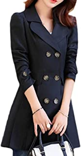 Women's Double Breasted Classic Slim Fit Jackets Trench Coat