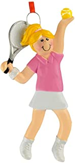 Personalized Tennis Girl Christmas Tree Ornament 2019 - Yellow Hair Athlete Pink Hit Ball Racket Team Player USOPEN Coach Hobby School Active Profession Gift Year - Free Customization (Blonde)