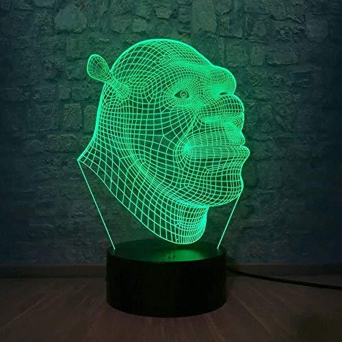 lámpara de ilusión 3D LED Luz de Noche Shrek ideal como regalo de cumpleaños para niños, niños y hombres Con interfaz USB, cambio de color colorido