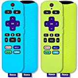 [2 Pack] Pinowu Remote Cover Suitable for Roku Voice Remote Control, Anti Slip Silicone Cover Compatible with Roku Express 4K+ 2021, Streaming Stick+ Remote (Turquoise + Green)