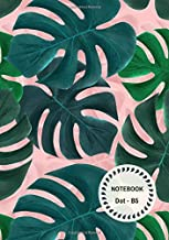 Dot Notebook B5: Green-Pink, Tropical Leaf Design, Softcover, Dotted Grid, Numbered Page, Medium,  Journal (Journal Notebook Dots)