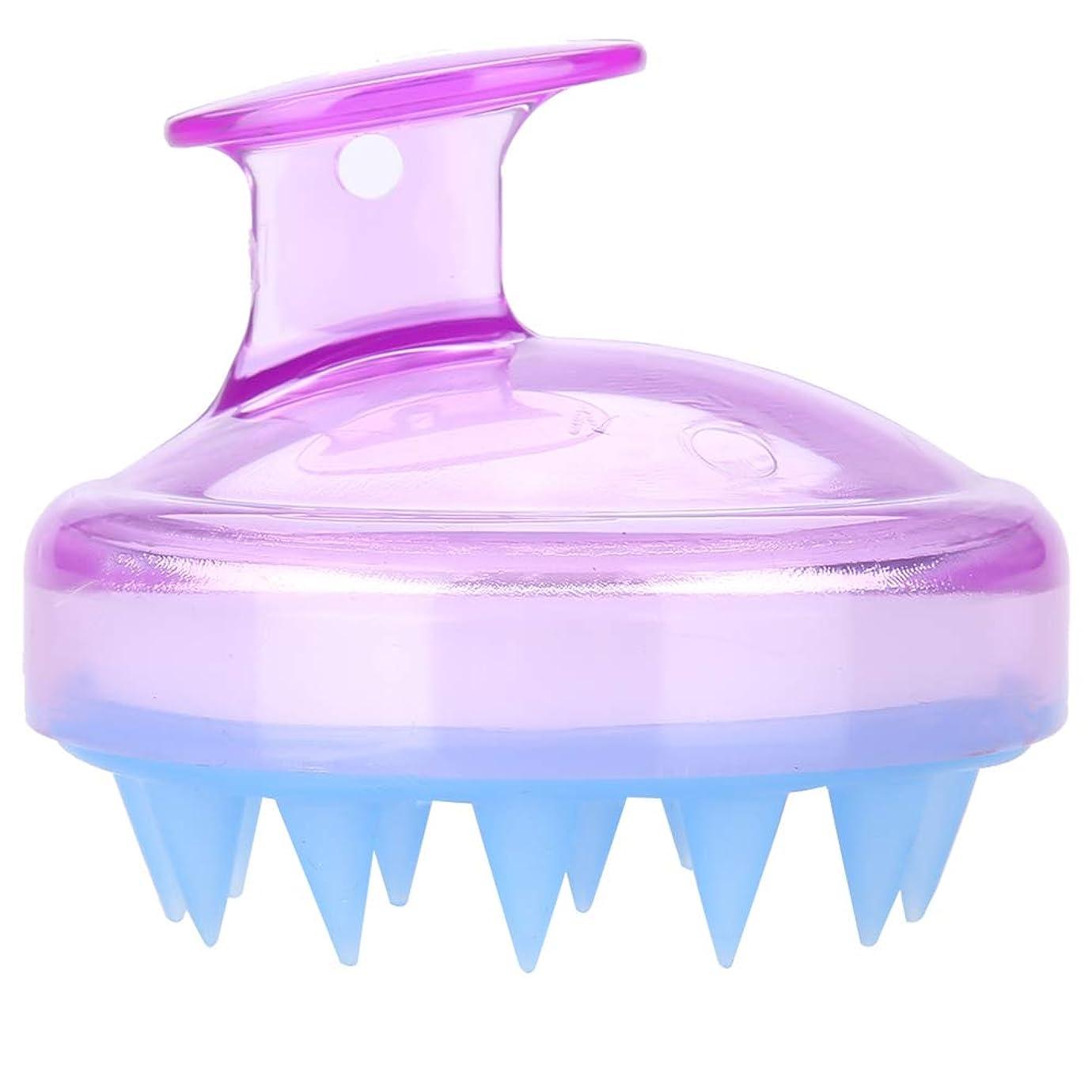 ハーネス熟した建築5色マッサージャーヘッド - スカルプマッサージャー、マッサージャーブラシヘッドシャンプー - ボディ洗浄マッサージャーのためのシャワーブラシ(紫の)