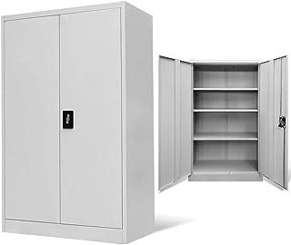 Armoire de bureau en métal avec serrure et 3 étagères réglables 140 x 90 x 40 cm