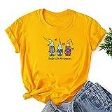 VEMOW Camiseta de Mujer Manga Corta Cuello Redondo, 2021 Moda Corazón Impresión Basica Clásico Camiseta Suelto Blusas Camisas Tops Verano Tops Casual Fiesta E-Girl Original T-Shirt(B Amarillo,M)