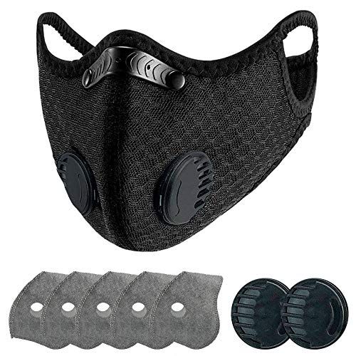 That Healthy Skin Glow Reusable, Washable Nylon Dust Face Mask with 5 Pcs Filters,2 Spare Breathing Valve(Large Size) (SM-01)