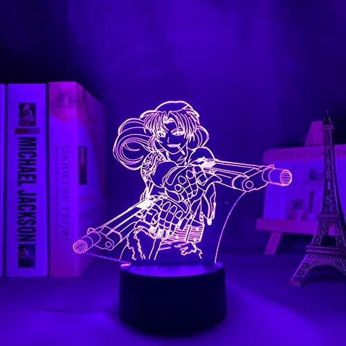 Black Lagoon Revy Luz de noche Led para decoración de dormitorio Regalo Luz nocturna Mesa de anime Lámpara 3d Revy Black Lagoon