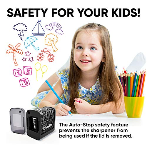 POWERME Electric Pencil Sharpener - Pencil Sharpener Battery Powered for Kids, School, Home, Office, Classroom, Artists – Battery Operated Pencil Sharpener For Colored Pencils, Ideal For No. 2 (Black) Photo #6