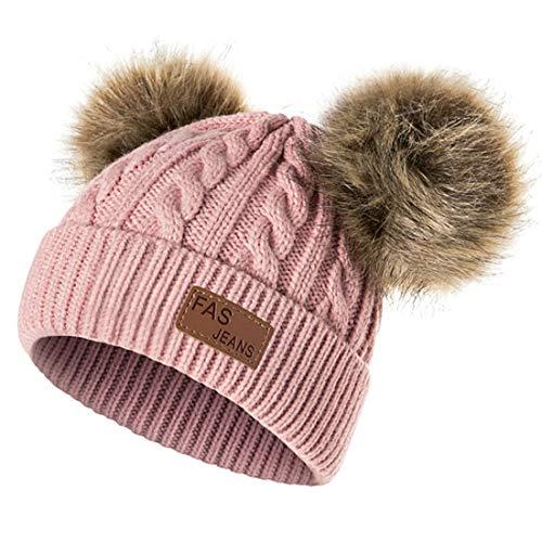 Yixda Baby Kids Winter Mütze Mädchen Jungen Warm Fellbommel Beanie Hüte (Dunkel Rosa)