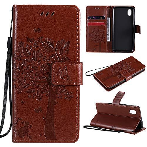 Puamru-M Funda tipo cartera para Samsung Galaxy A01 Core Leather Wallet Case, Tree Embossment Folio Case Flip Kickstand con ranuras para tarjetas/cordón rosa 0106-T (Color: marrón)