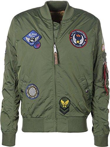 Alpha Industries Hombre MA-1 TT Patch Jacket, Verde, Medium