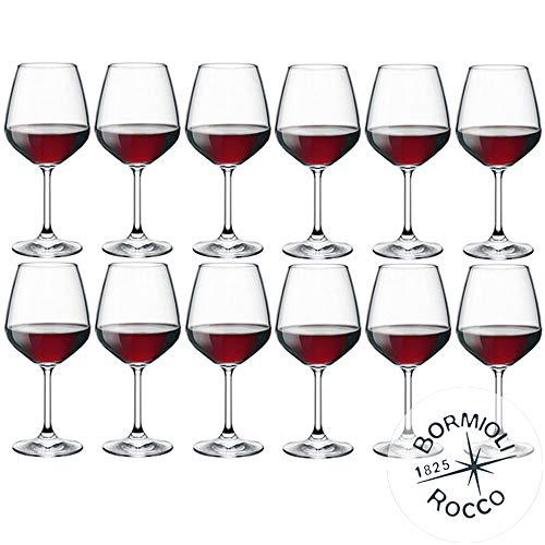 Bormioli Rocco–Juego de 12copas de vino tinto, modelo DiVino 53–Capacidad:53 cl.