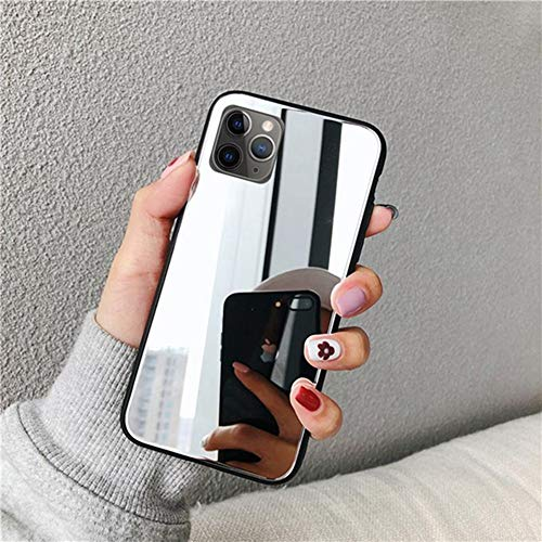 AAA&LIU Estuche para teléfono con Espejo de Maquillaje para iPhone SE 2020 12 Pro MAX 11 10 X XS XR 7 8 6 Plus 6s Funda de TPU Suave a Prueba de caídas, Plata, para iPhone 8