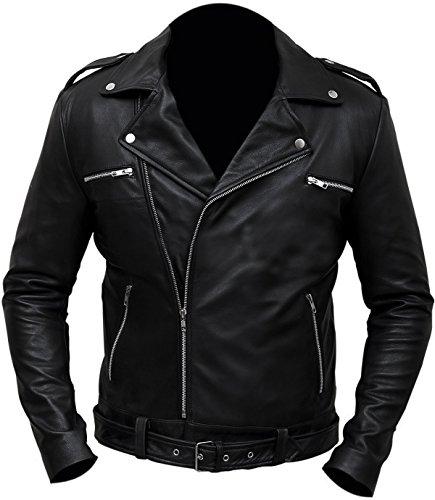 The Walking Dead Negan Retter Kostüm Smart Biker Wear Kunstleder Jacke Gr. L, Schwarz