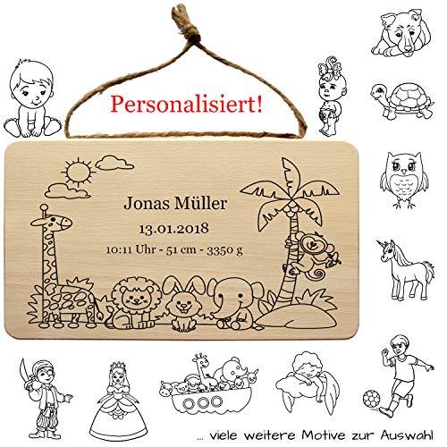 """Baby Schild personalisiert - individuell mit Geburtsdaten, Name, Geburtsdatum, Spruch, Motiv - als Holz Wandschild, """"Welcome Baby"""" Geschenk zur Geburt, Geburtstafel, Geburtsgeschenk Deko"""