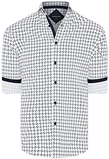 Tarocash Men's Theo Stretch Geo Print Shirt Regular Fit Long Sleeve Sizes XS-5XL for Going Out Smart Occasionwear