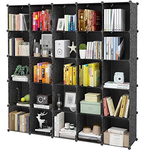 KOUSI Portable Storage Cubes-14' x14'(Load-Bearing Metal Panel) Modular Bookshelf Units,Clothes Storage Shelves,Room Organizer,Black,25 Cubes